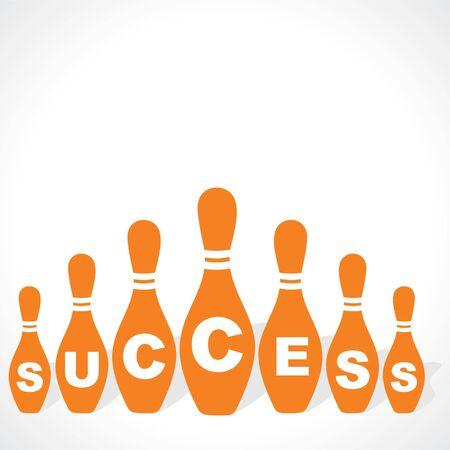 bowling pins make success word stock vector Stock Vector - 18427407