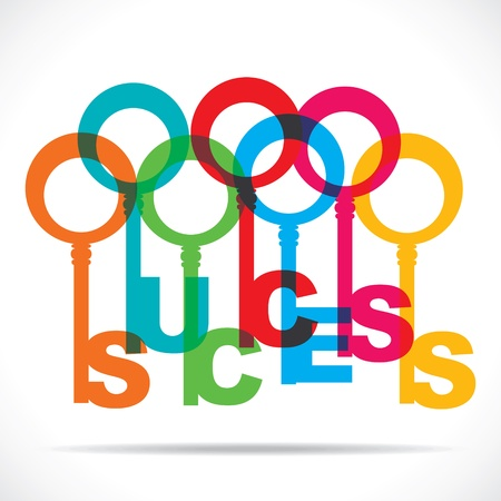 Farbe Erfolg Wort Schlüssel stock vector