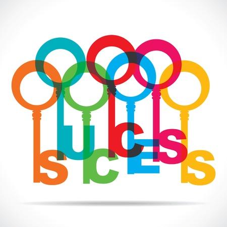 sukces słowo klucz wektor stock kolor