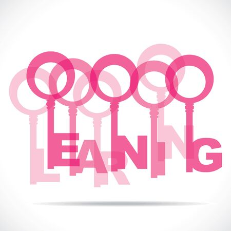 pink learning word key stock vector Stock Vector - 18785455