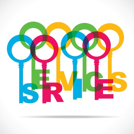 Farbe Dienstleistungen Wort Schlüssel stock vector