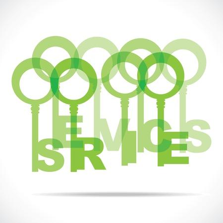 green service word key stock vector Stock Vector - 18785448