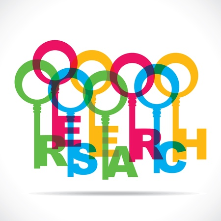 keywords link: colorful research word key stock vector