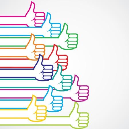 Kleurrijke achtige of thumbs-up teken achtergrond stock vector