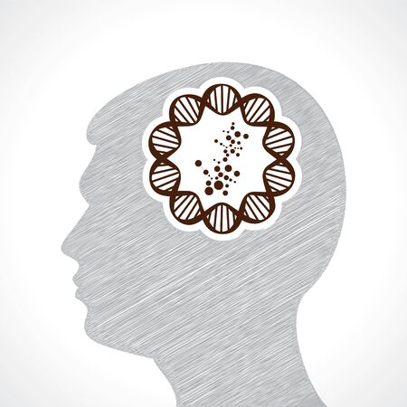 man s: Hand drawn man s face with DNA and atom structure in his head stock vector