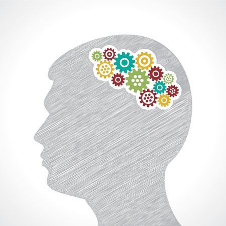 concentration gear: Hand drawn man s face with gears in his head stock vector Illustration