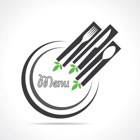 utensilios de cocina: Ilustración de la plantilla para la tarjeta del menú con cubiertos stock vector