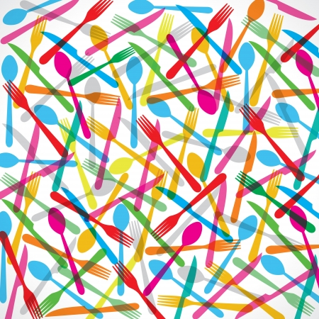 disposable: Colorful forks background stock vector Illustration