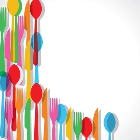 disposable: Colorful fork pattern background stock vector