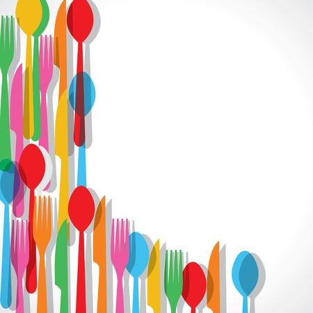 cubiertos de plata: Patrón de colores de fondo stock tenedor vector