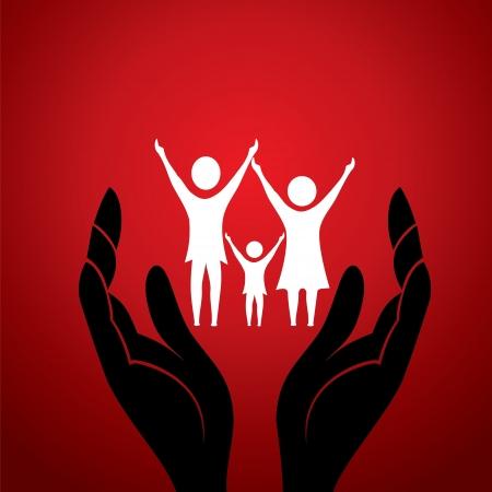 nursing treatment: familia en el vector con la mano stock