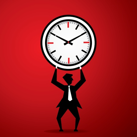 elapsed: Big clock on man stock vector