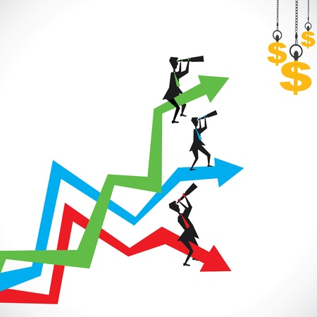 dynamic growth: finding money concept stock vector