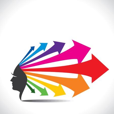 curve ahead sign: Abstract face with colorful arrow hair stock vector