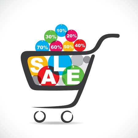 sale text in shopping cart  stock vector Illustration
