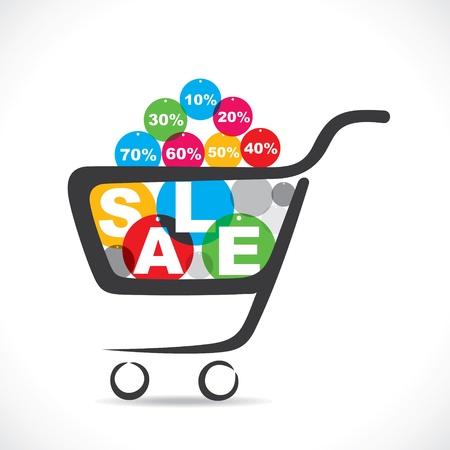 Verkauf Text im Warenkorb Vektorgrafik