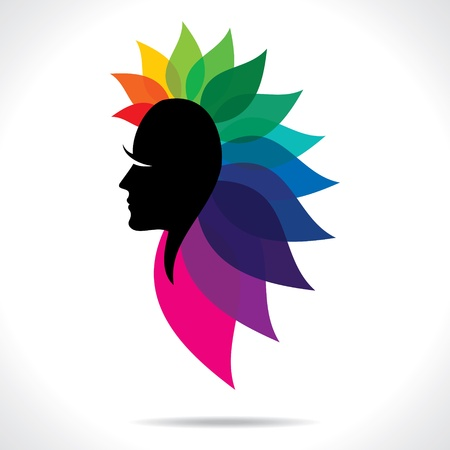 feminize: Abstract face with colorful leaf hair stock vector Illustration