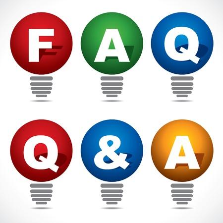 q: Lampadina con FAQ e QA testo stock vettore