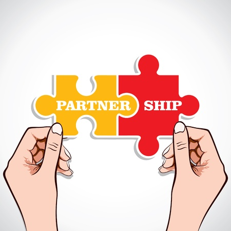 two pieces: Partnership puzzle piece in hand stock vector