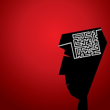maze in head concept stock vector Illustration