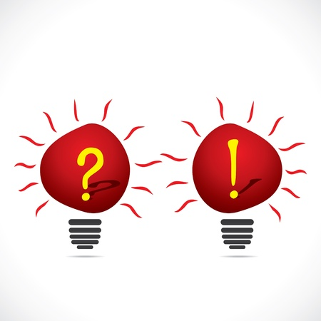 exclamatory: red bulb with question mark and exclamatory sign stock vector  Illustration