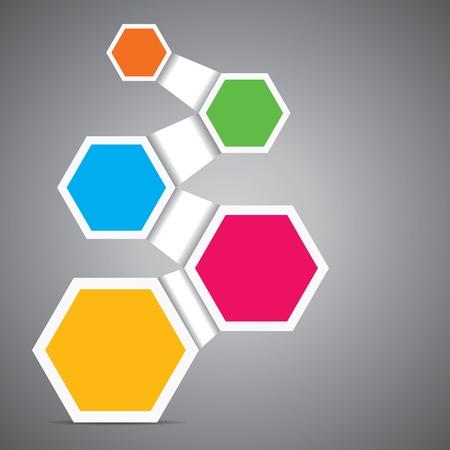 hexahedron: colorful hexagon infographics stock vector