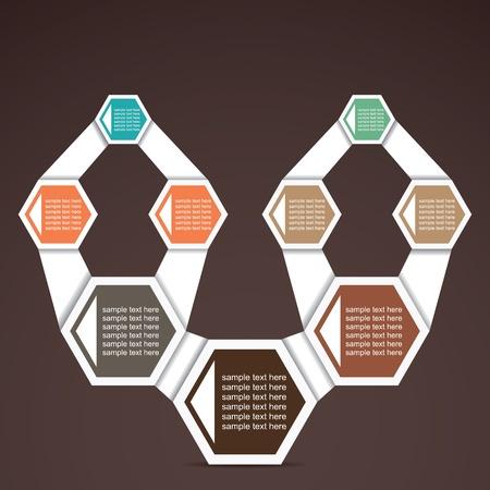 hexahedron: retro inforgraphic hexagon stock vector Illustration