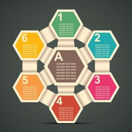 retro Sechskant Infografiken Vektorgrafik