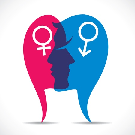 male and female with sign stock vector Illustration