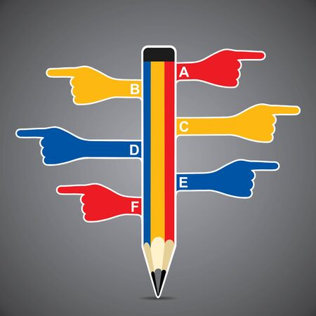 colorful pencil infographics with hand pointed stock vector Vector