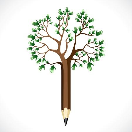 educacion ambiental: abstracto mano lápiz verde árbol