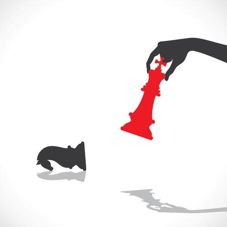 rojo derrota rey negro caballo común