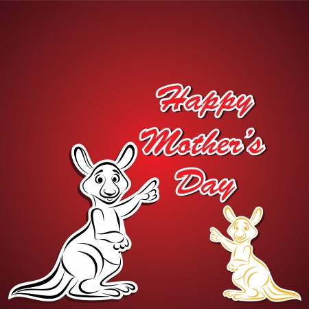 Happy Mother and Baby Kangaroo stock vector Vector