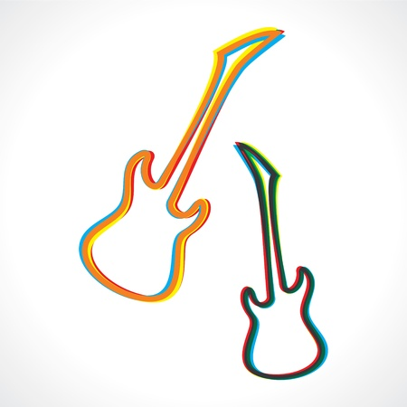 composing: Abstract colorful guitar design stock