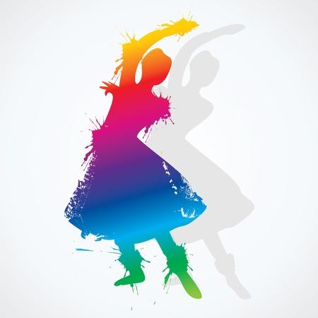 traditional dance: illustrazione di colorato classica indiana ballerino stock vector Vettoriali