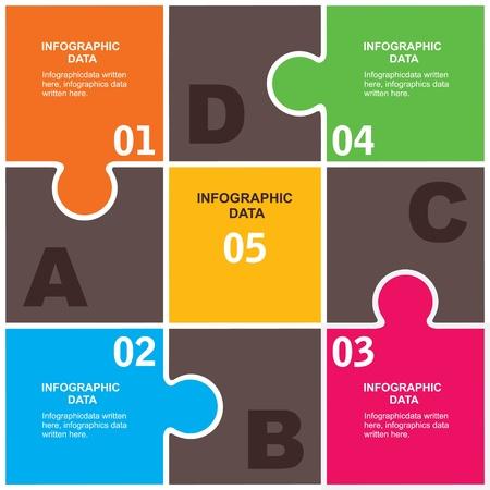 diagrama de flujo: fondo creativo infografía rompecabezas