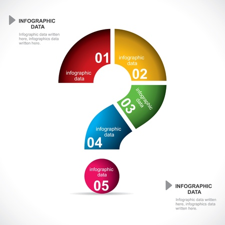 bunte Fragezeichen Infografik Vektorgrafik Illustration