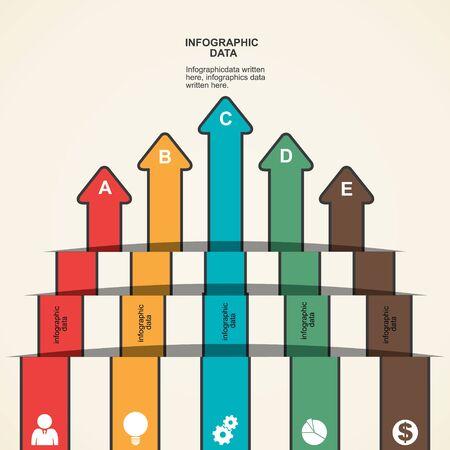 phonographic: retro arrow business infographic vector