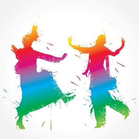 bollywood: Colorful bhangra y gidda bailarina stock vector