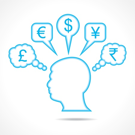 man thinking about currency stock vector Stock Vector - 19080371