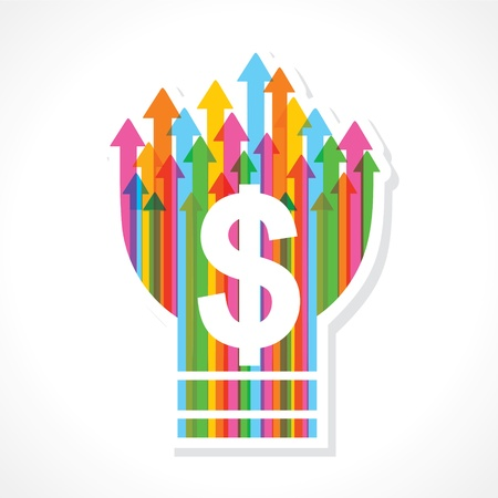 Dollar symbol on colorful arrow bulb stock vector Stock Vector - 19080379