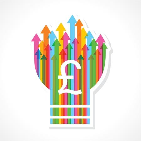 Pound symbol on colorful arrow bulb stock vector Stock Vector - 19080381