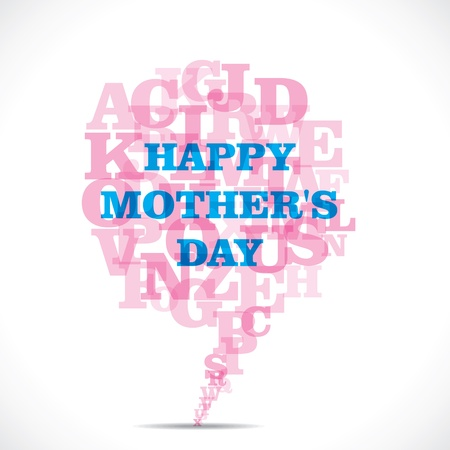 happy mothers day with pink alphabets message bubble Vector