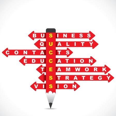 grafico vendite: parola d'affari in matita rossa con la freccia direzionale stock vector