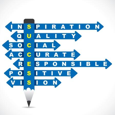 inspiratie: zakelijke woord op de blauwe potlood met directionele pijl stock vector Stock Illustratie