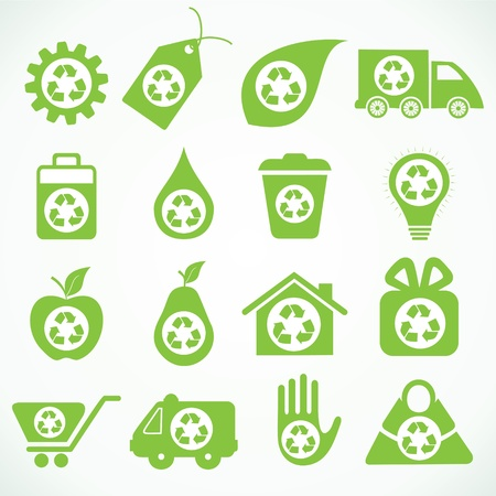 cart icon: 20 eco icons stock vector Illustration