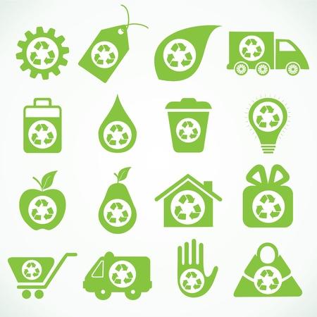 antipollution: 20 iconos de eco stock vector