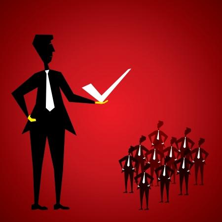 how: empresarios ense�an equipo c�mo hacer lo correcto stock vector