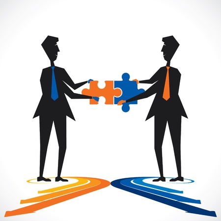 group  join: two people join puzzle piece stock vector