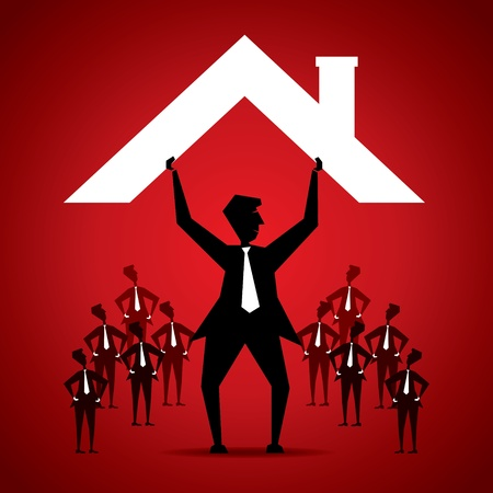 family moving house: secure his team by leader concept stock vector